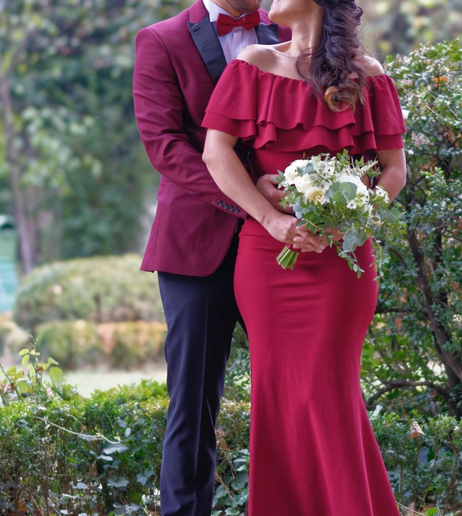 a red gown