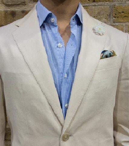 khaki coat  with blue shirt